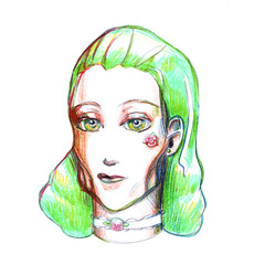 portrait girl with green hair drawing picture illustration colored pencils simple pencil cheekbones flower yellow eyes turquoise light fashion colored lenses make-up sketch