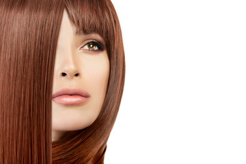 Beauty model girl with healthy straight hair. Hair salon concept