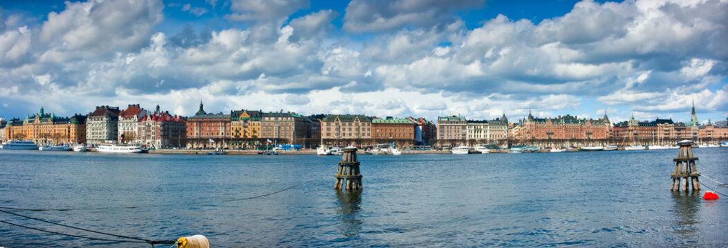 Panoramic view of Strandvägen from Skeppsholmen.