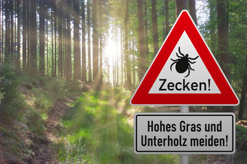 Schild warnt vor Zeckengefahr im Wald - Hintergrund mit Sonneschein