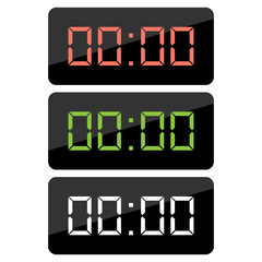 Simple, flat digital clock icon. Three color variations. Isolated on white