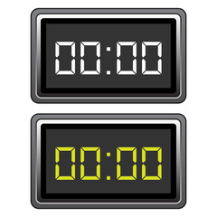 Simple, metal digital clock icon. Two variations. Isolated on white