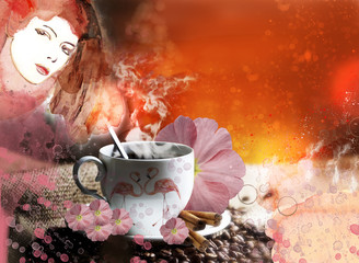Coffe time. Abstract woman painting. Concept illustration