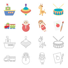 Train.kukla, picture.Toys set collection icons in cartoon,outline style vector symbol stock illustration web.