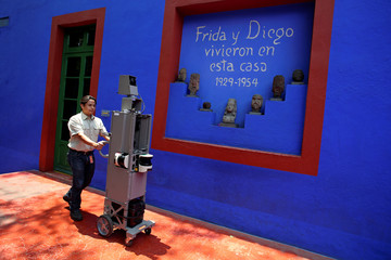 "A Google employee maps the exterior of the childhood home of Mexican artist Frida Kahlo, now Frida Kahlo Museum, also known as ""Casa Azul"", in Mexico City"