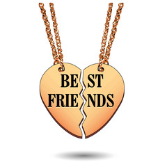 Best Friends Gold Charm Necklace on Chains