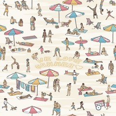 "Hand drawn seamless pattern with tiny people at the beach, three of them writing the words ""we love summer"" into the sand"