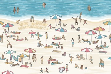 """Hand drawn banner with tiny people at the beach, three of them writing the words """"we love summer"""" into the sand - seamless banner, can be tiled horizontally"""