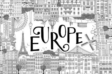Europe postcard template with hand drawn houses of Paris, Lisbon, Amsterdam, Athens, Rome, Berlin and London