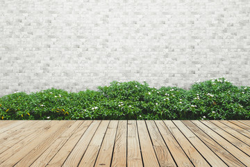 bush brick wall and wood floor background