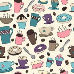 Seamless Background of Coffee and Tea