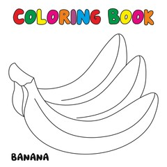 Banana Coloring Book, Coloring Page For Kids and Children