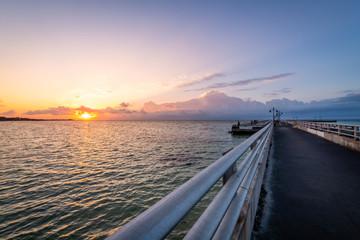 Sunrise over the Edward B. Knight Pier