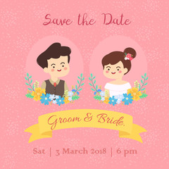 Cute Wedding Couple save the date invitation card vector illustration cartoon. Bride and groom portrait isolated on pink background.