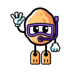Walnut diving mascot cartoon illustration