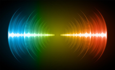 Sound waves oscillating dark blue green yellow light, Abstract technology background. Vector.