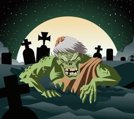 zombie raising from graveyard