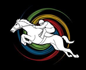 Horse racing ,Jockey riding horse, design on spin wheel background graphic vector.