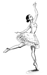 Dancing ballerina. Ink black and white drawing