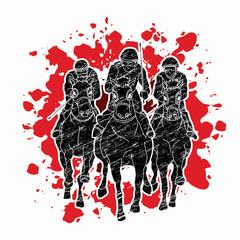 Horse racing ,Jockey riding horse, design on splatter blood background graphic vector.
