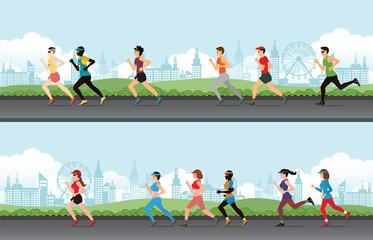 Marathon runner men and women on the street.
