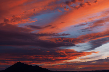 Intensely colored twilight sky in the California desert.