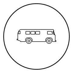 Retro bus icon black color vector illustration simple image