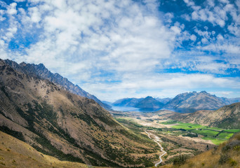 Majestic Remarkables Mountains in summer in New Zealand