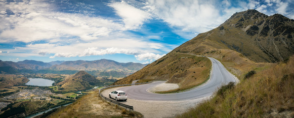 The winding road from Queenstown to The Remarkable Ski Area in New Zealand