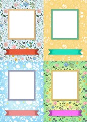 Floral frames for pictures with banners for text