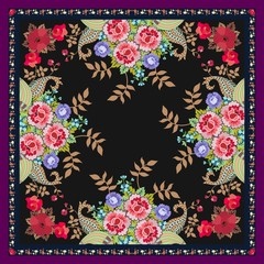 Unique shawl or carpet with bouquets of fantasy flowers, golden leaves and paisley on black background. Vector image.