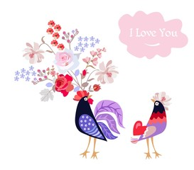 Funny rooster and hen with red heart and bouquet of garden flowers isolated on white background. Greeting or invitation card in vector. Valentine's day.
