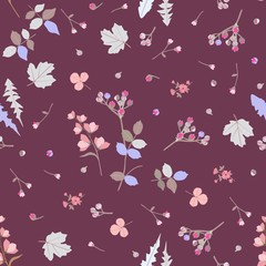 Ditsy seamless botanical pattern with colorful stylized leaves, little buds and  flowers isolated on brown background in vector. Wrapping design, print for fabric, paper, wallpaper.