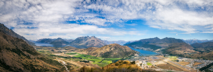 Queenstown Scenic Alpine Panorama in summer -New Zealand, South Island