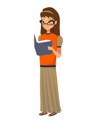 isolated young caucasian girl reading a book vector illustration. a teen wearing glasses, an orange blouse and a long taupe skirt on a white background.