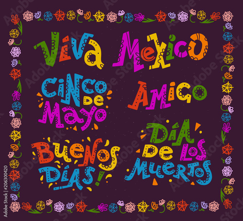 Vector Flat Set Of Mexican Quotes Lettering For Different