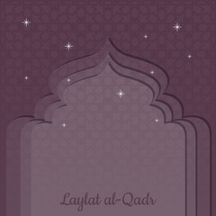Laylat al-Qadr. Islamic religion holiday. Symbolic silhouette of the mosque. Bordeaux shades of color. Paper style. Background pattern of arabesque