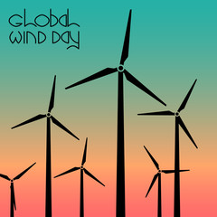 Global Wind Day. Wind turbines against the background of the evening sky