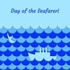 Day of the Seafarer. 25 June. Stylized cartoon sea, waves, ship, whale tail