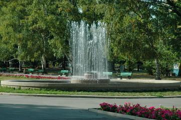 Beauty landscape of many fountain  with different programme  in public Zaimov or Oborishte park  of  Sofia city, Bulgaria, Europe