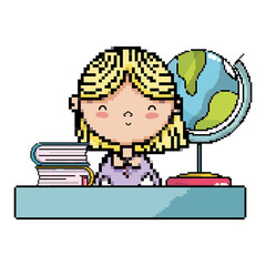 cute teacher in the desk with global map and books