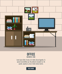 Office workplace interior cartoons vector illustration graphic design