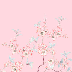 Watercolor branches and flowers