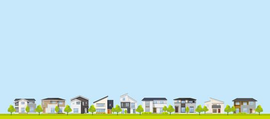 Photo sur Plexiglas Bleu clair 風景、背景:家、住宅、一軒家、戸建て