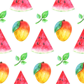 Hand painted minimalist seamless fruits pattern with watercolor watermelon, mango and green leaf isolated on white background