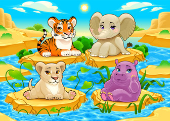 Baby cute Jungle animals in a natural landscape