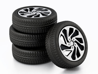 Low profile sport tyre and rims isolated on white background. 3D illustration