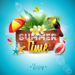 Vector Summer Time Holiday typographic illustration with toucan bird on vintage wood background. Tropical plants, flower, beach ball and sunshade with blue sky. Design template for banner, flyer