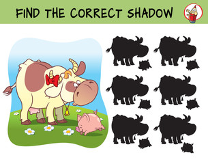 Cow and little pig on a meadow. Find the correct shadow. Educational matching game for children. Cartoon vector illustration