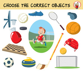 Choose the correct objects for football match. Educational matching game for children. Cartoon vector illustration